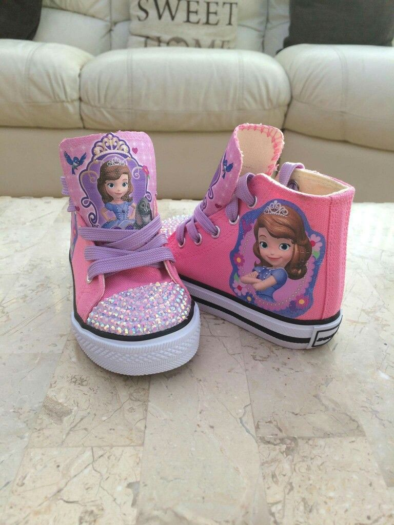 831ae4fbb096 Sofia the first high top shoes personalised trainers pink and purple  toddler 3 to junior 2 £25