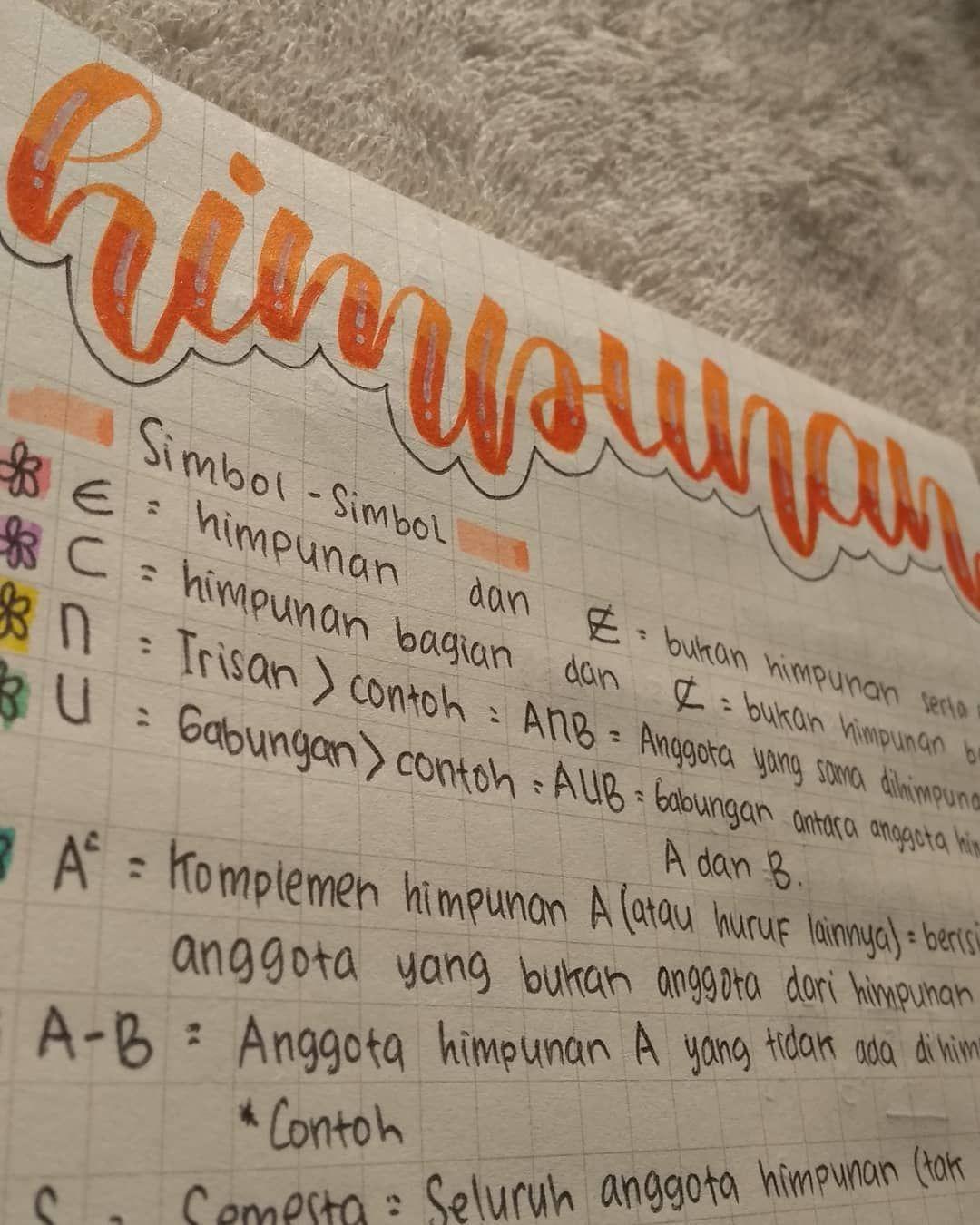 Studygramindonesia Matematika Studygram Aesthetic Lettering Rangkuman Pelajaran Himpunan Orange Me Matematika Kelas 7 Pelajaran Matematika Matematika