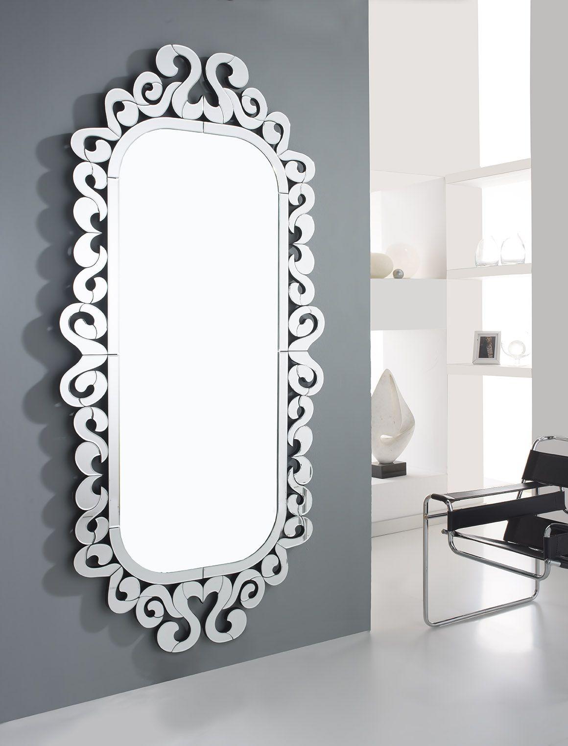 Espejo sorrento con marco de lunas biseladas soporte en for Espejos decorativos modernos