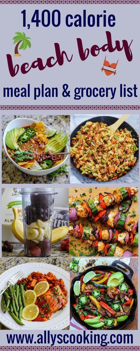 1,400 Calorie Beach Body Meal Plan & Grocery List #400caloriemeals