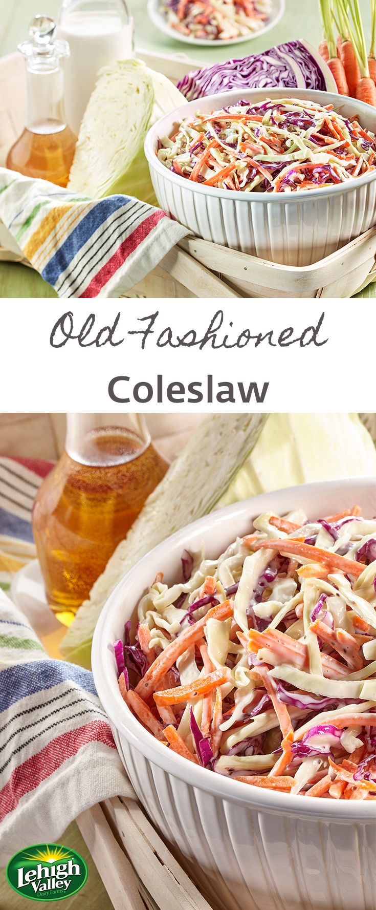 A colorful classic, this coleslaw is made to share! The perfect balance of tangy and creamy, this coleslaw completes any summer barbeque.
