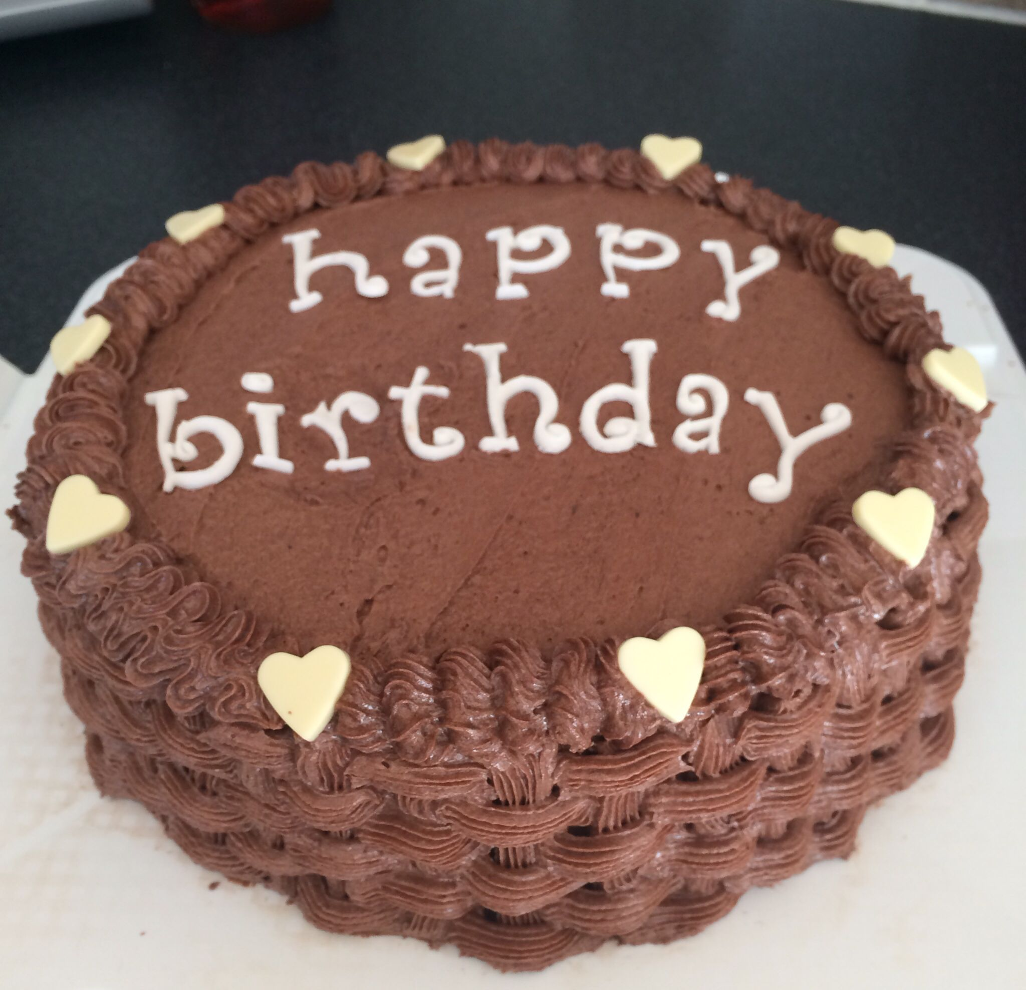 Chocolate birthday cake with chocolate basket weave piping Cute