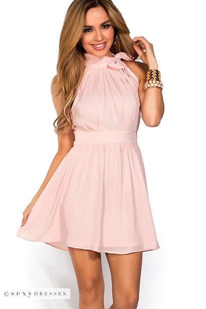 Fit and Flare Chiffon High Neck Peach Pink Halter Dress with ...