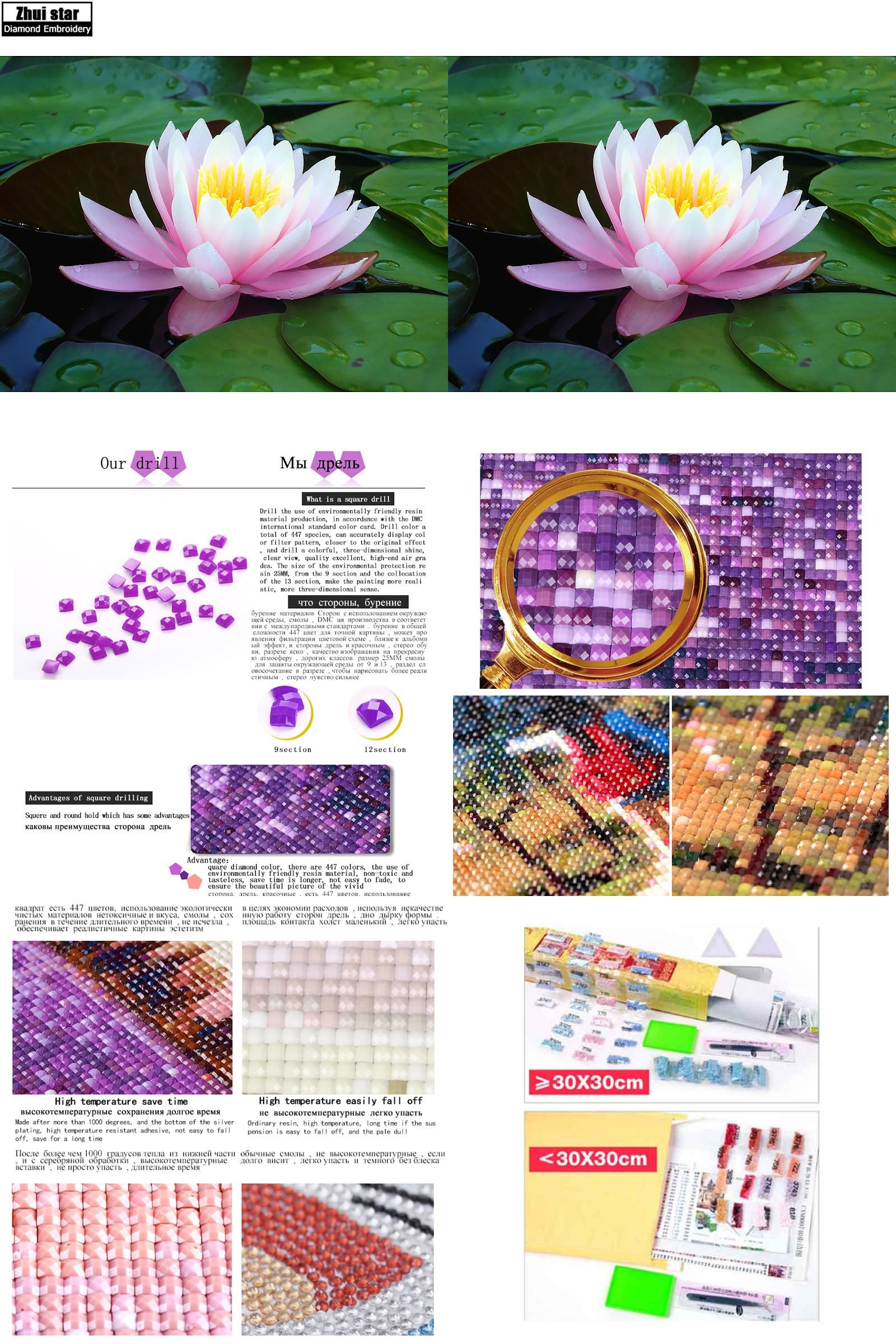 Visit To Buy Full Drill Diamond Embroidery Pink Lotus Flower 5d Diy