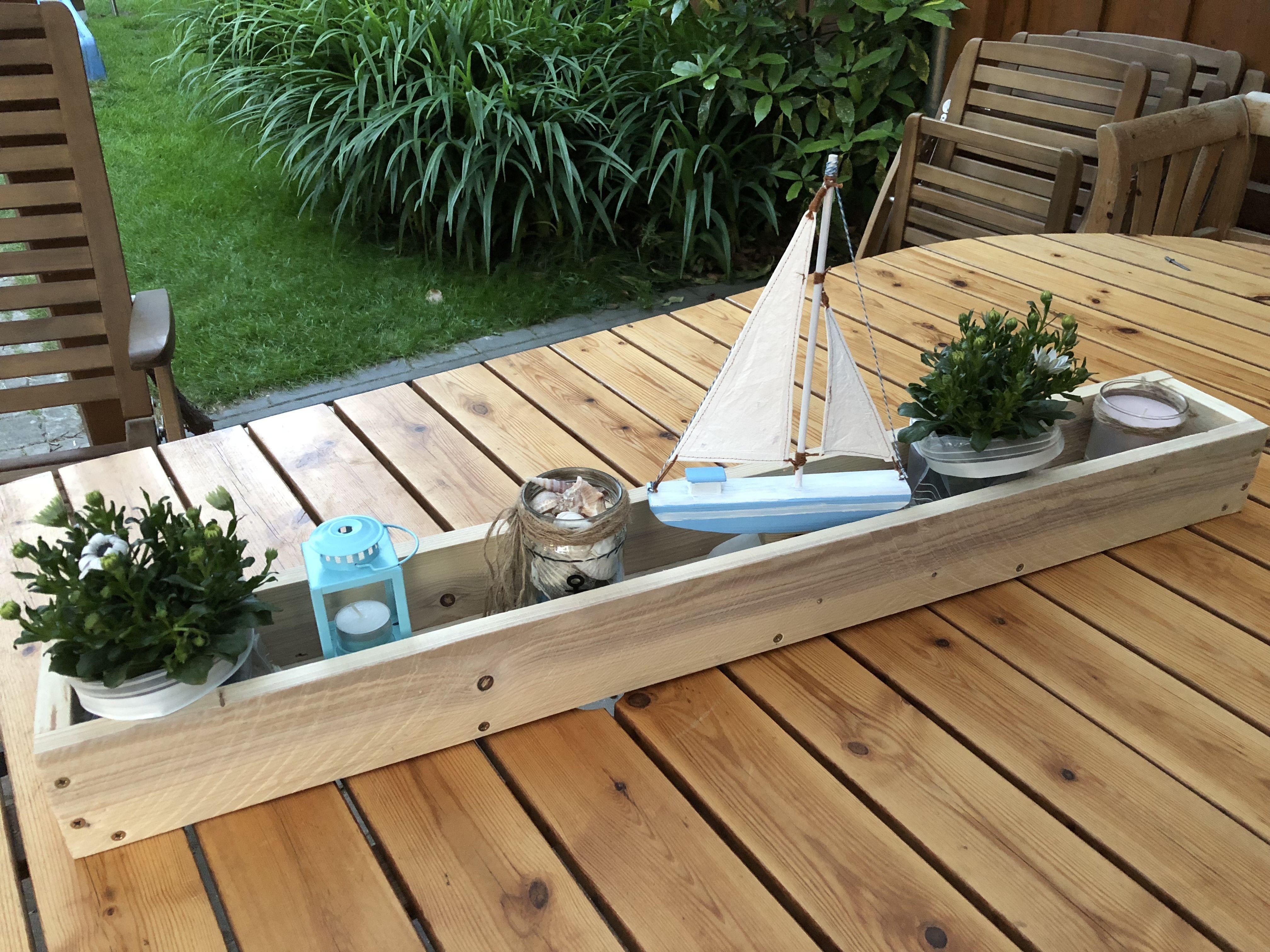 Tablett Aus Palettenholz Mit Selbstgebautem Schiff Bauen Mit Holz Holz Deko Holz