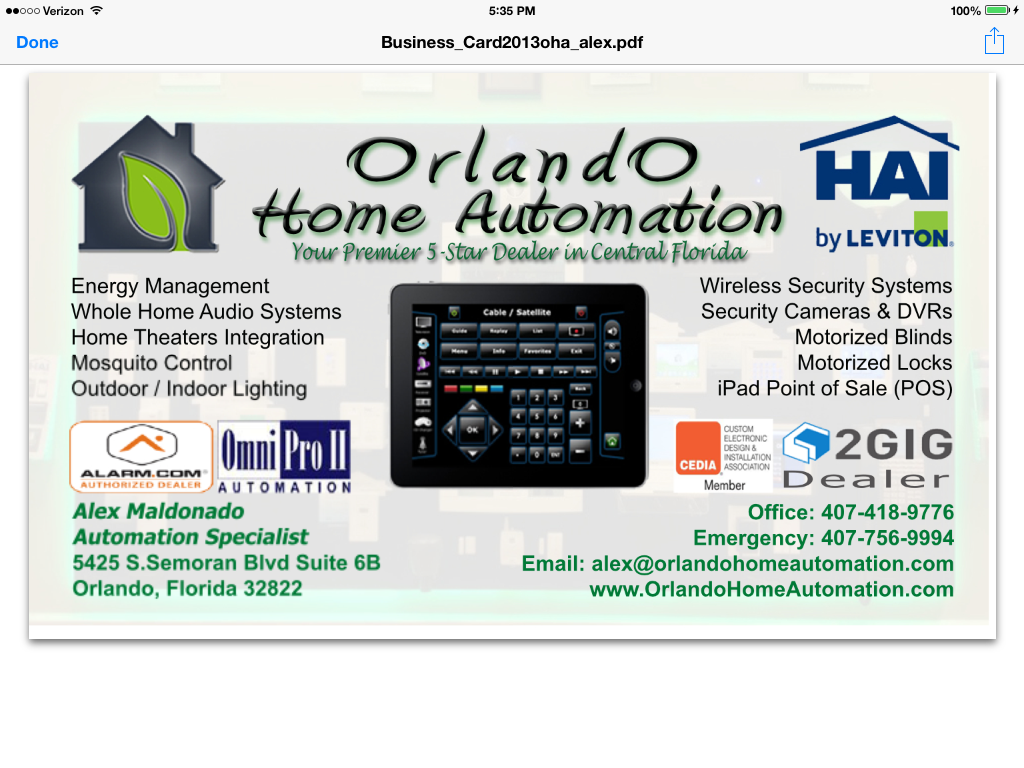 Orlando Home Automation Leviton/HAI Sign | Orlando Smart Home ...