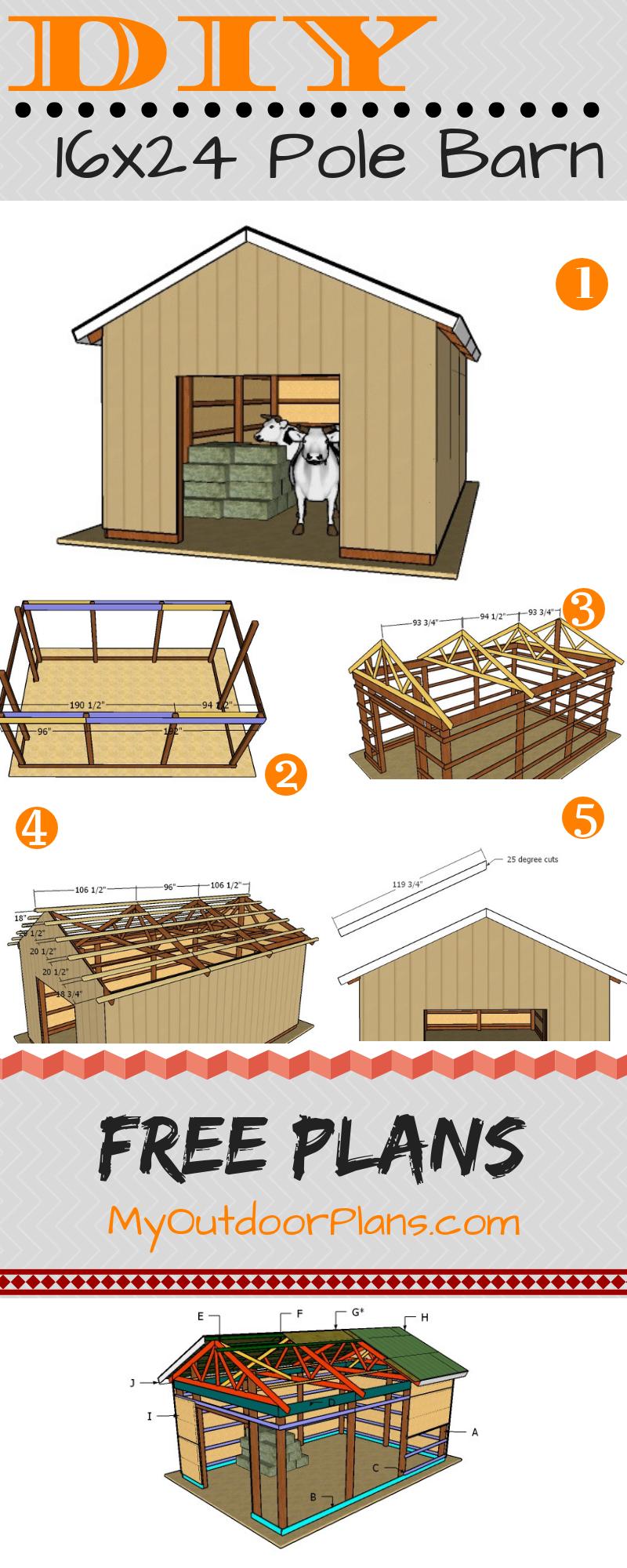 16×24 Pole Barn Plans #polebarnhouses