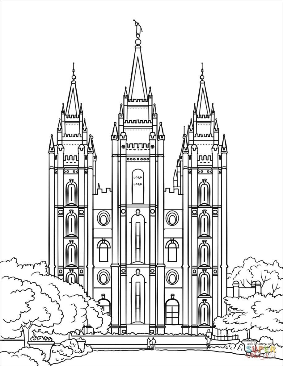 Temple Coloring Page Salt Lake City Temple Coloring Page Free