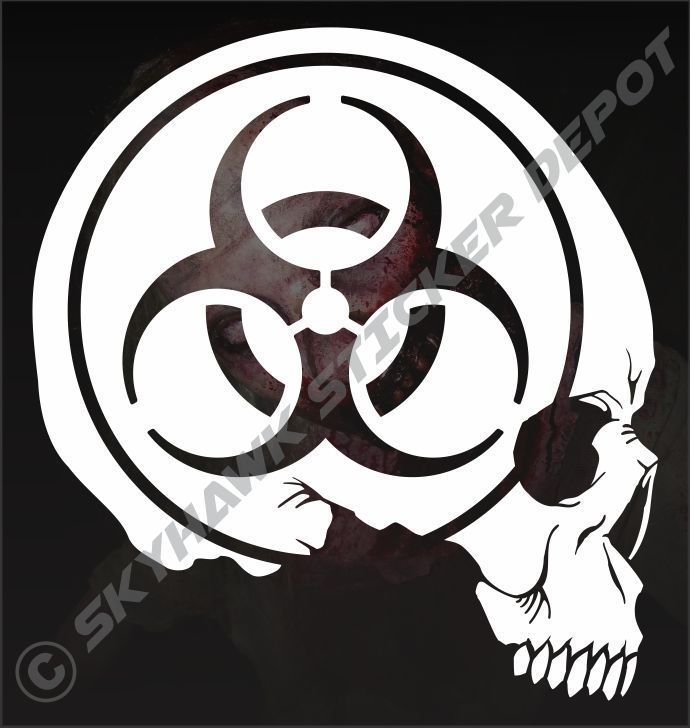 Biohazard skull sticker vinyl decal zombie walking dead macbook jeep dodge truck