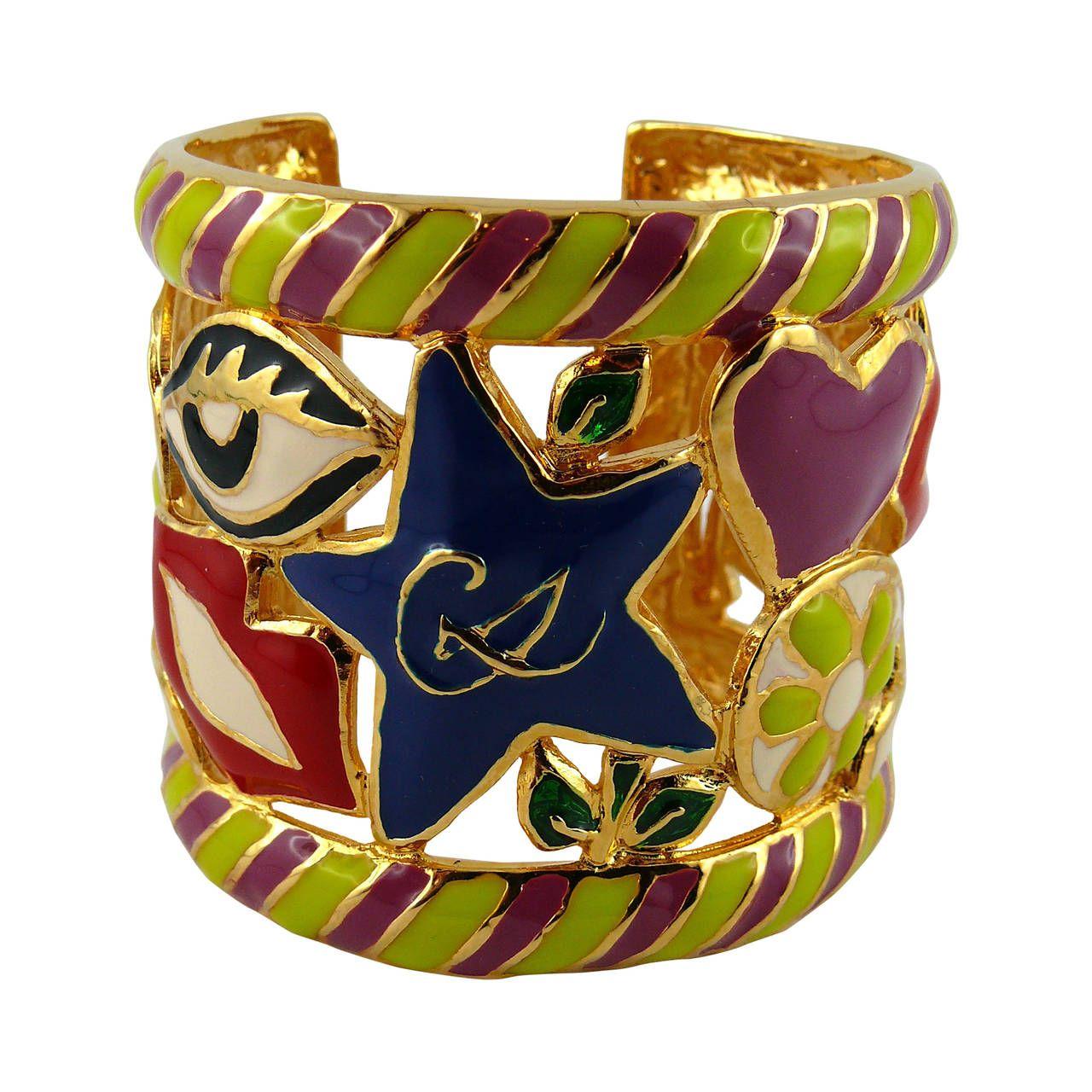 Christian Lacroix Vintage Rare Surrealist Enamel Cuff Bracelet Christian Lacroix Jewelry Christian Lacroix Enamel Cuff