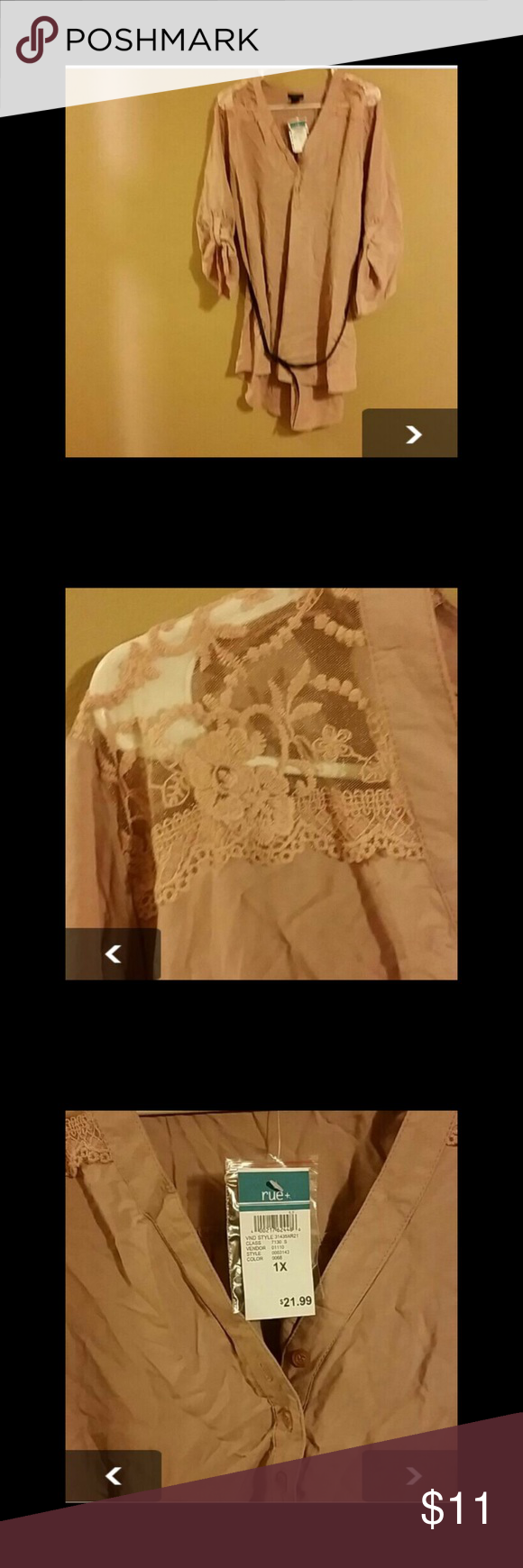NWT Rue plus Rue blouse. So pretty pic doesn't do justice. Looks great with leggings. Tags on. Bought on here just too big for me Rue21 Tops Blouses