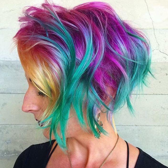 pulp riot - mermaid bright hair colour & curls - rainbow | haircut
