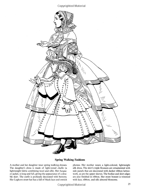 Fashions of the Old South Colouring Book Dover Fashion Coloring