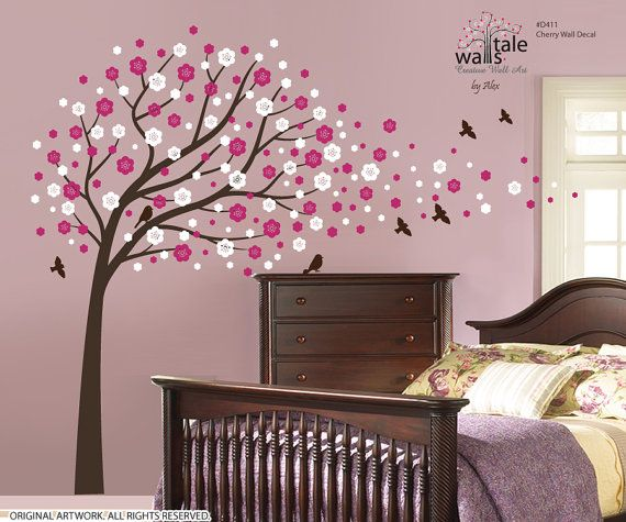 Cherry Wall Decal Large Tree Wall Decal For By Wallstaledecor 92 00 Nursery Wall Decals Wall Decals For Bedroom Large Wall Decals