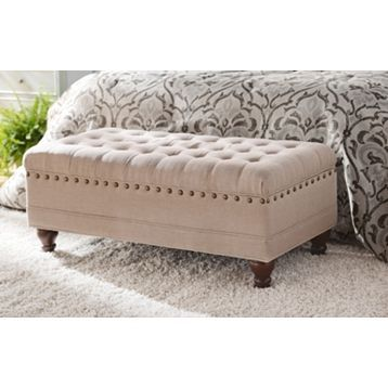 Oatmeal Linen Tufted Storage Bench Storage Bench Bedroom Tufted