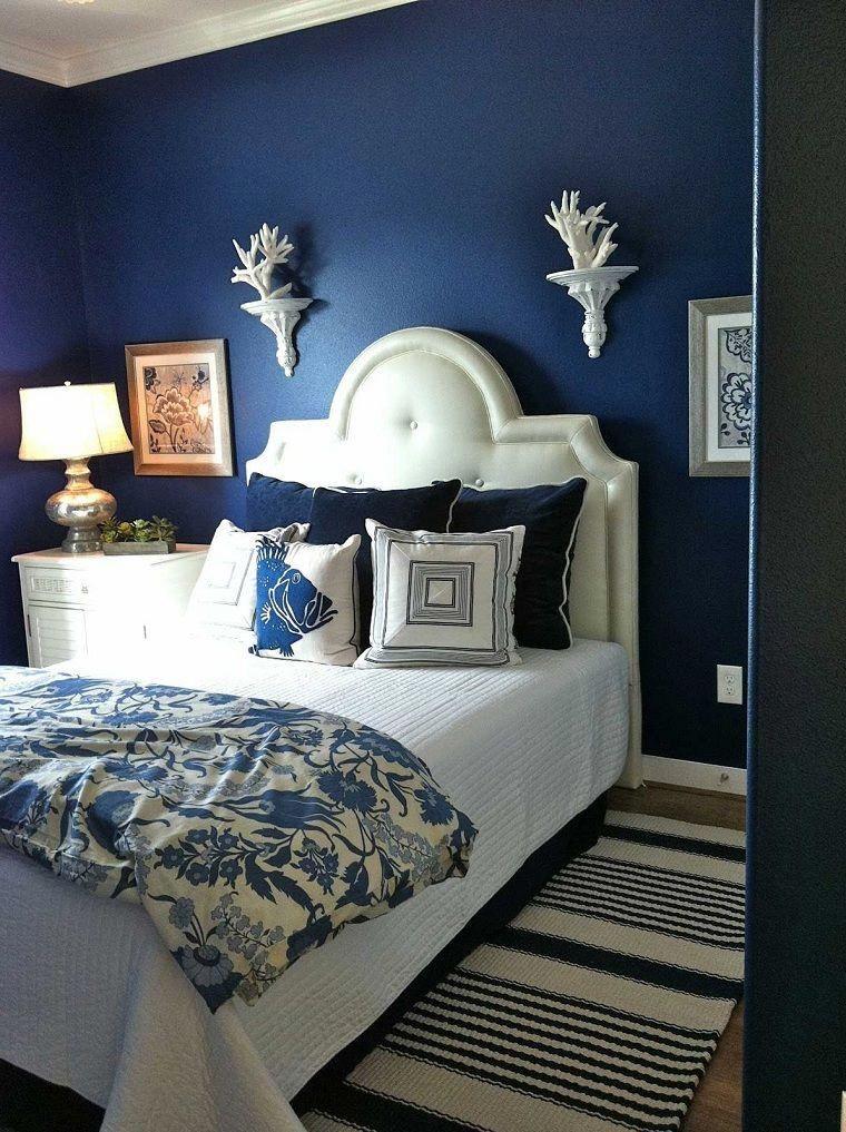 Paredes Azules Y Muebles Blancos Habitacionesmatrimonialesnordicas Blue Bedroom Design Master Bedrooms Decor Bedroom Colors
