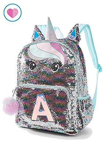 Justice Pastel Unicorn Flip Sequin Initial Backpack https