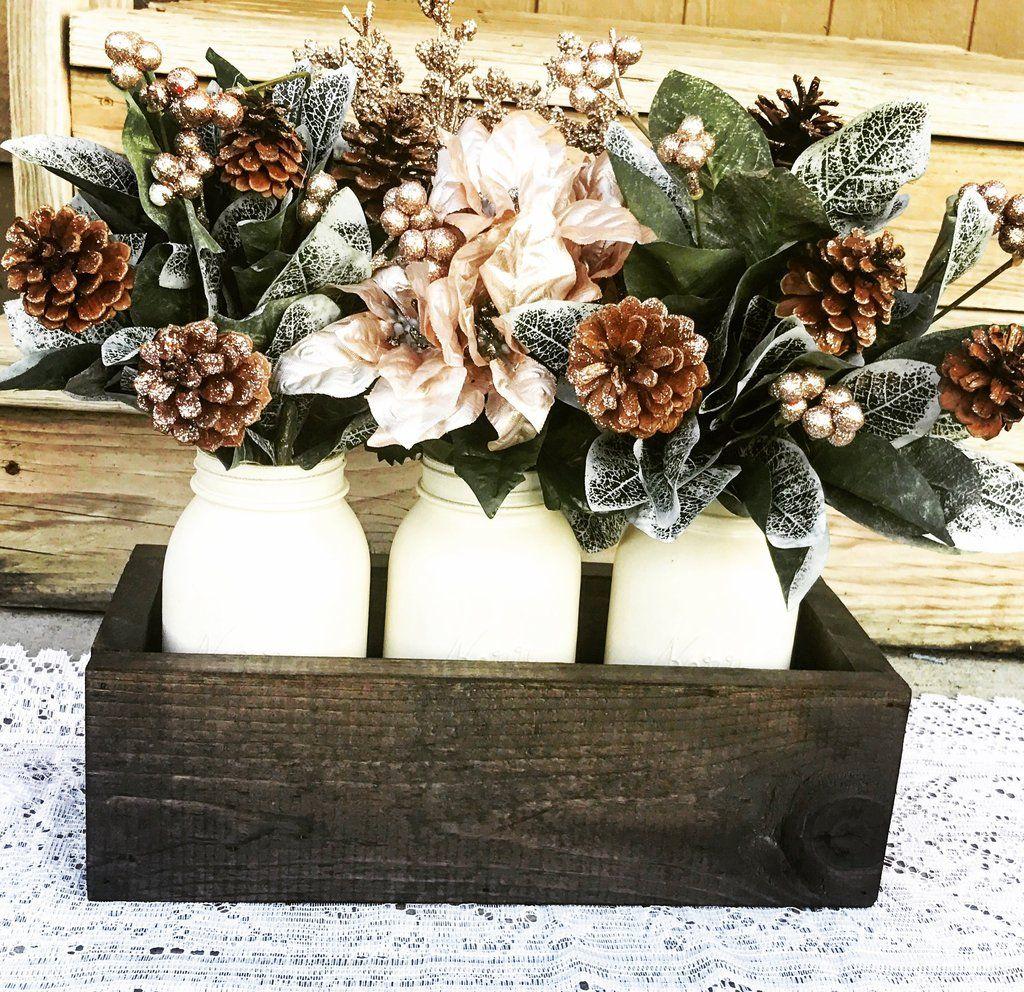 Heavy Pine Wood and Mason Jar Rustic Planter -   21 neutral winter decor ideas