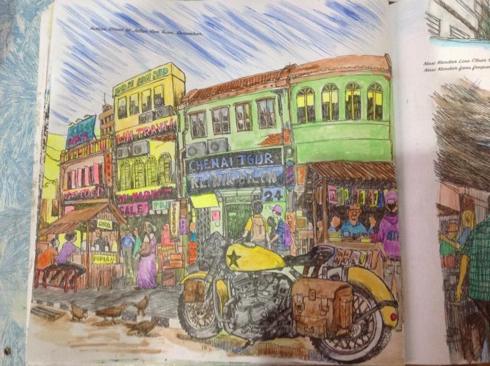 Malaysia Scenery Adult Colouring Book Part 1 TOWNSCAPES Artist