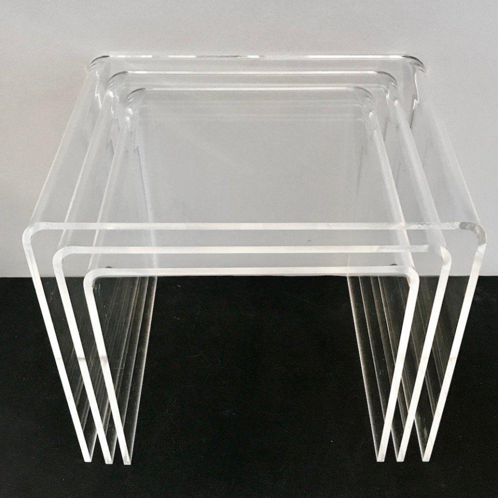 3 Plexiglas Bijzettafeltjes.3 Plexiglass Nesting Tables 1970s 110666 In 2020 Nesting