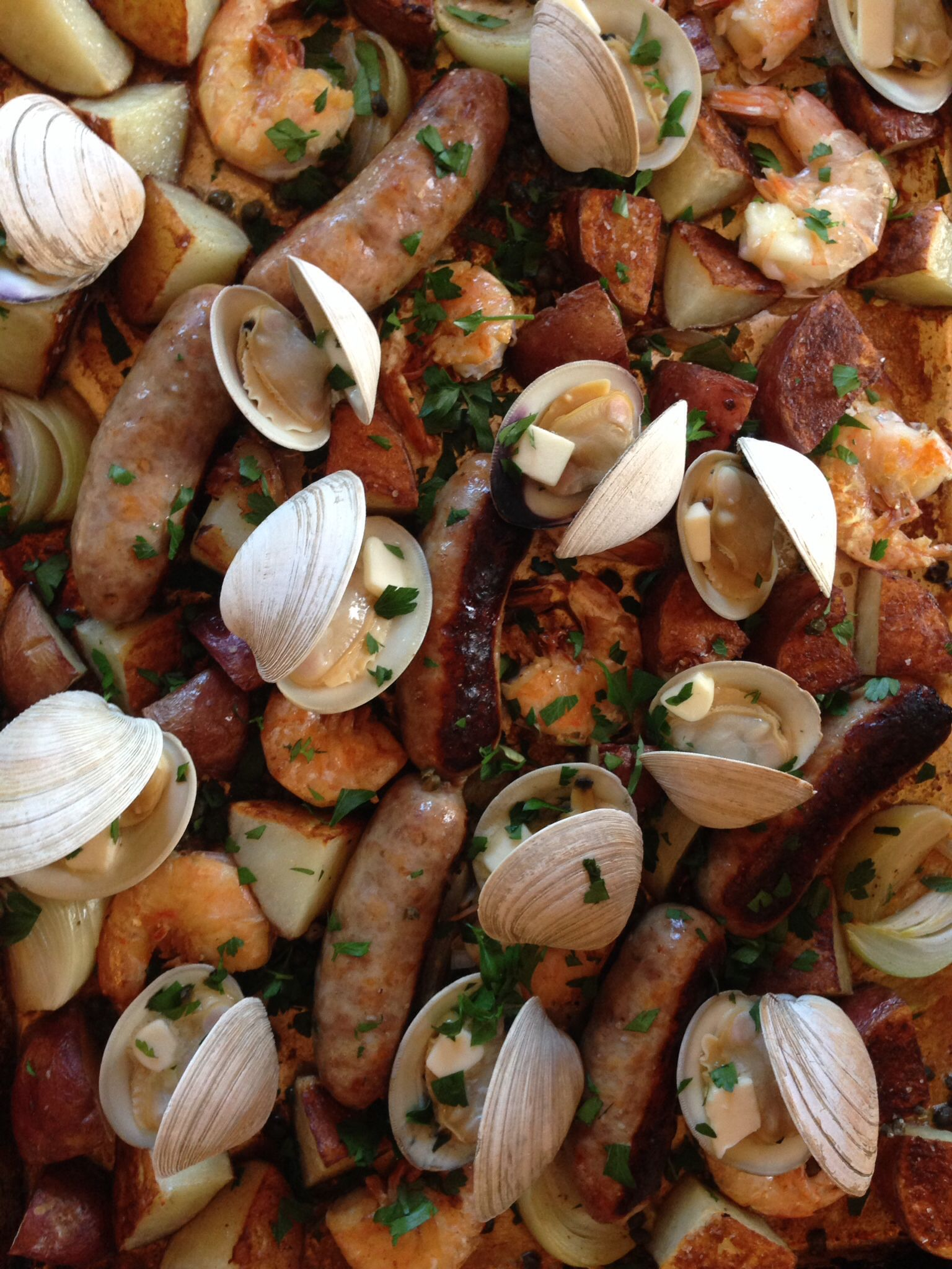Sheet Tray Clam Bake. #wecallitsupper #vtfood #vtwedding #foodwriting #villageroots  www.villagerootsvt.com