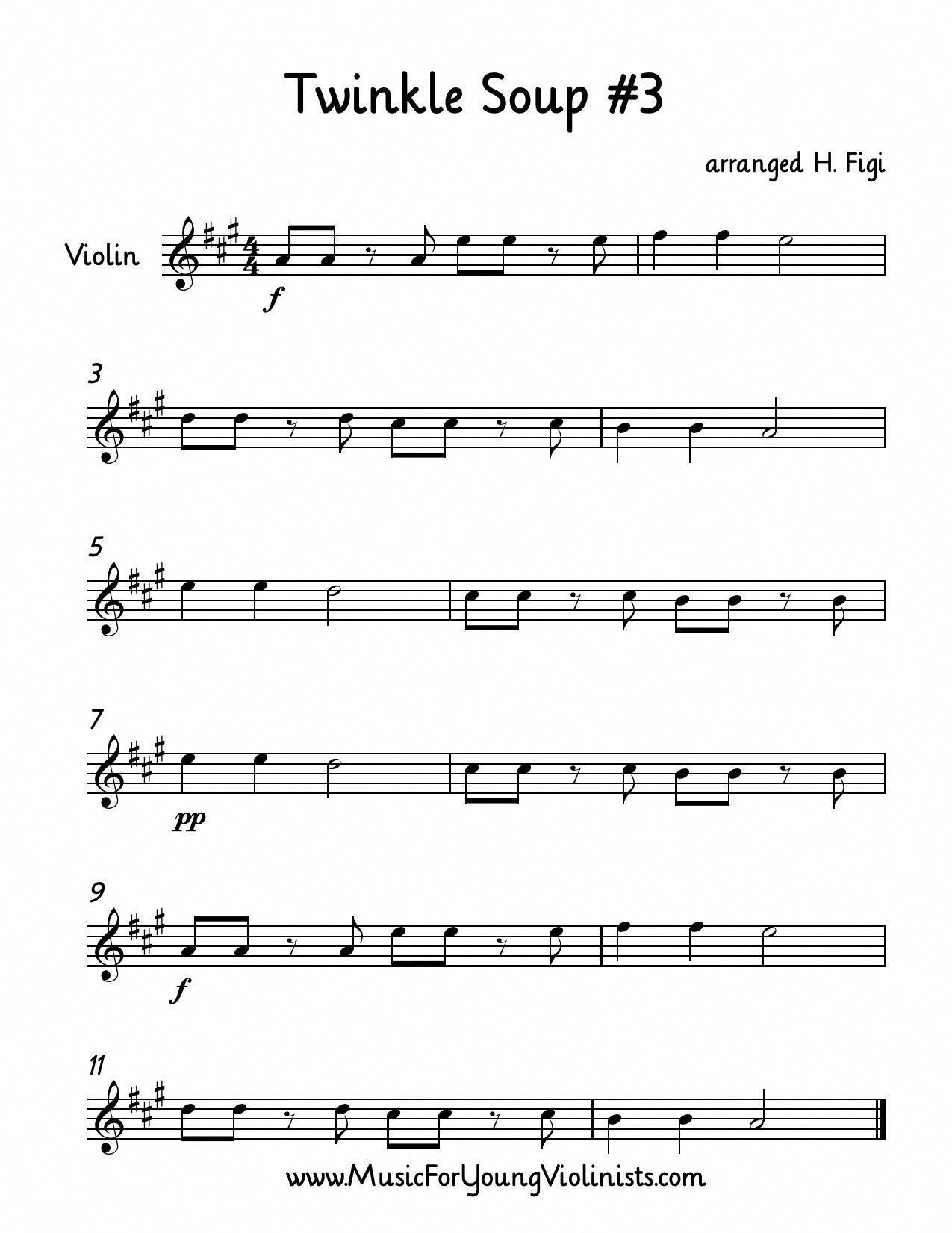 Suzuki Violin Twinkle Soup 3 Makes Great Sight Reading Material