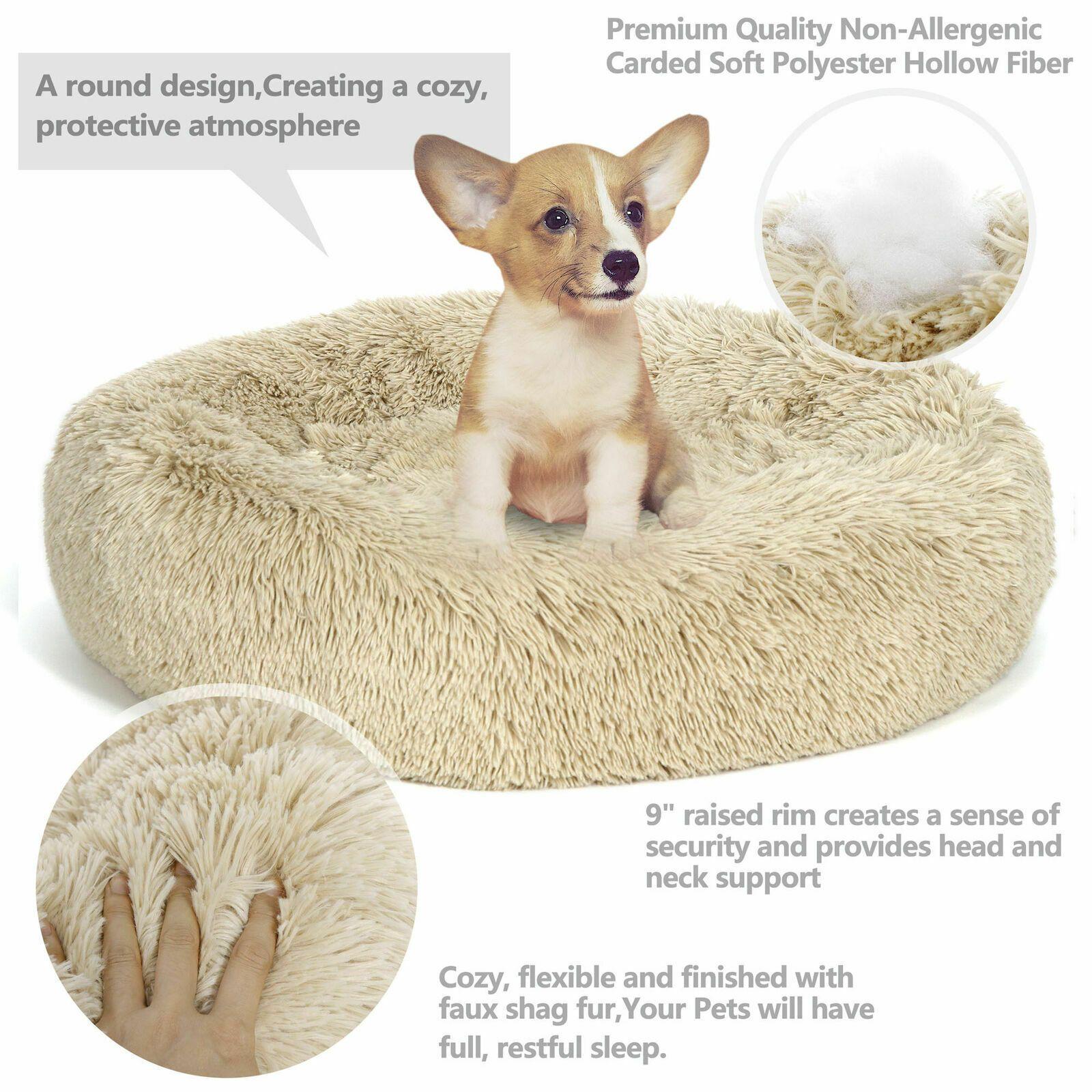 Large Shaggy Fluffy Pet Bed Dog Cat Donut Cuddler Cushion