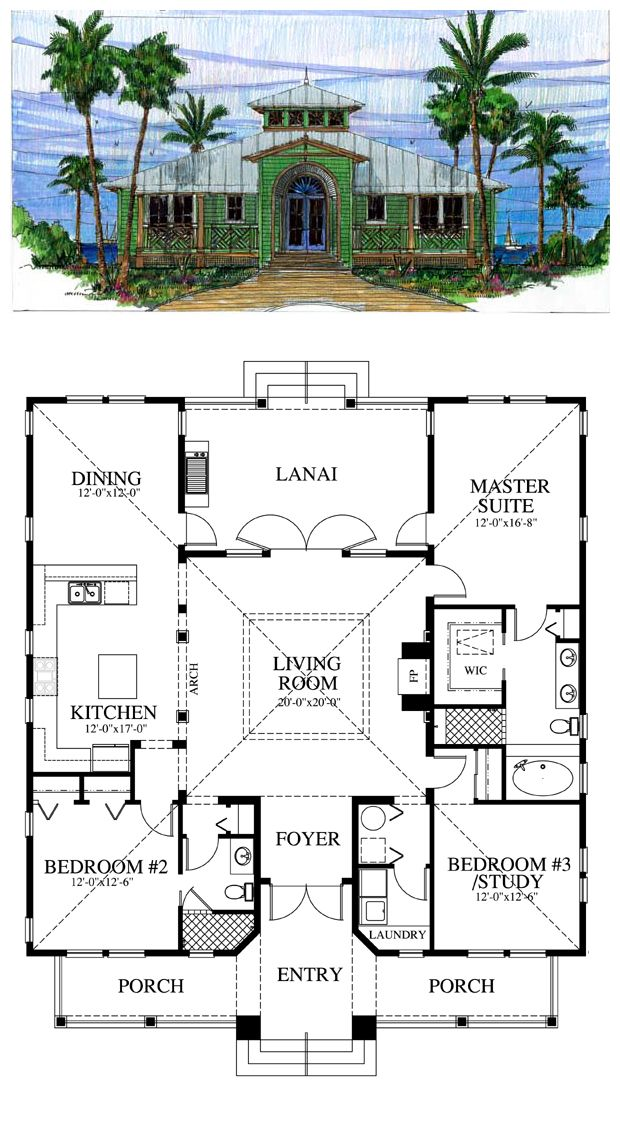 Florida cracker house plan chp 39722 pinterest for House plans with separate kitchen