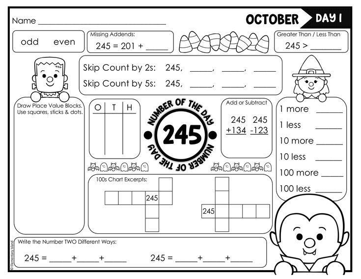 Halloween Activities Number of the Day Worksheet Series