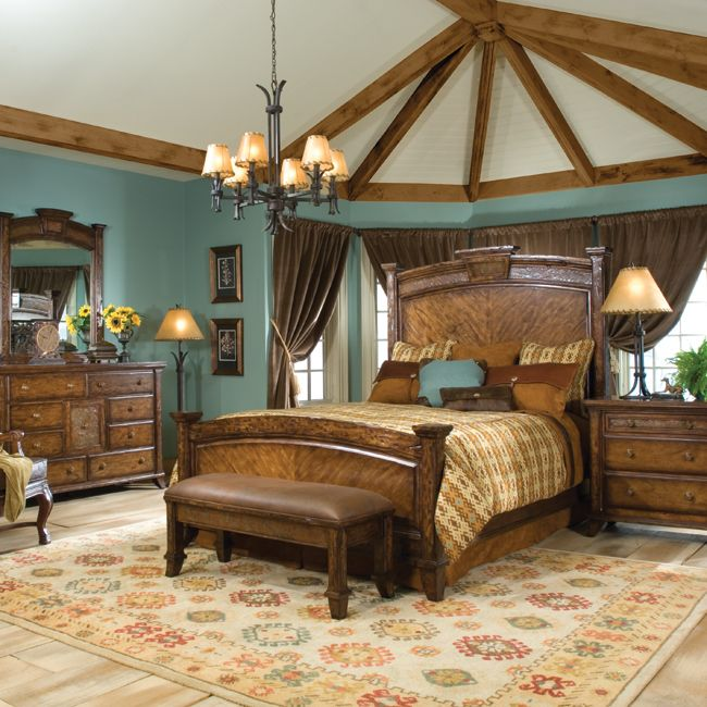 sun river bedroom furniture collection love the wall color - Master Bedroom Rustic Color Ideas