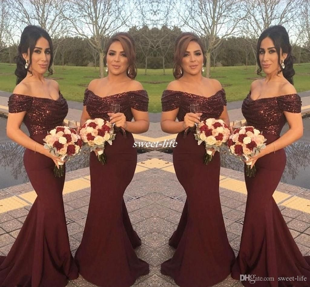 Burgundy sparkly sequins off shoulder long bridesmaid dresses with