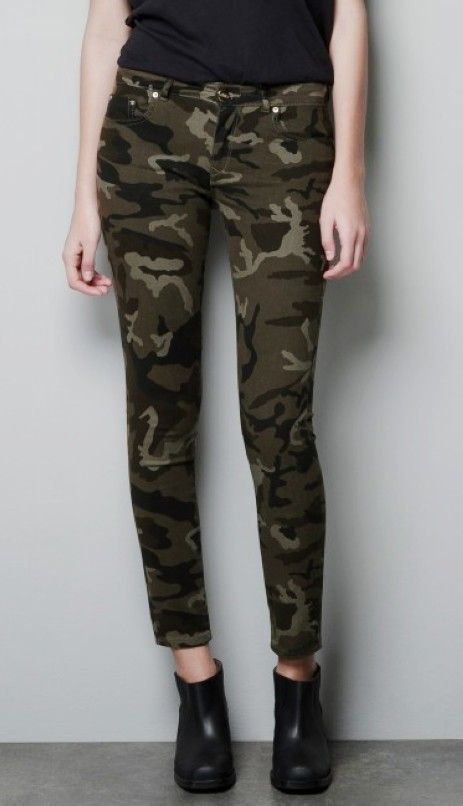 ec7cf6d7a7be3 Dark Camo Skinny Jeans, Camouflage Print Jeans, Cool Soldier Jeans For Girls