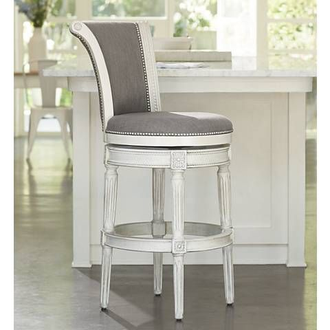 Chloe 30 Pewter Fabric Scroll Back Swivel Barstool 8x080 Lamps Plus Bar Stools Swivel Bar Stools Metal Bar Stools 30 swivel bar stools