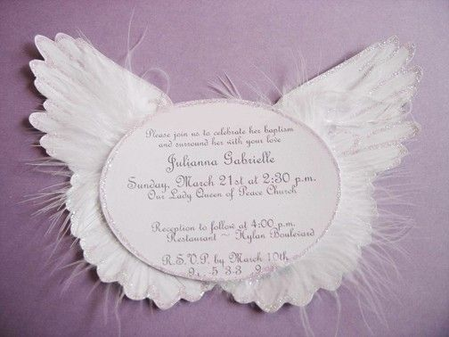 Heaven Sent Angel Wing Invitations by PartyBijou on Etsy