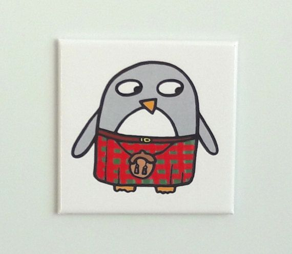 Funny Penguin Fridge Magnet Scottish Kilty Penguin Gift Stocking
