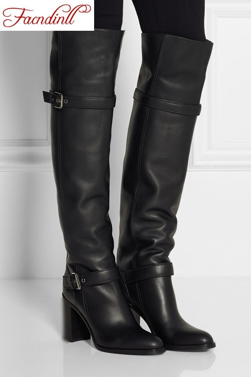 Women Warm Low Heel Tall Boots