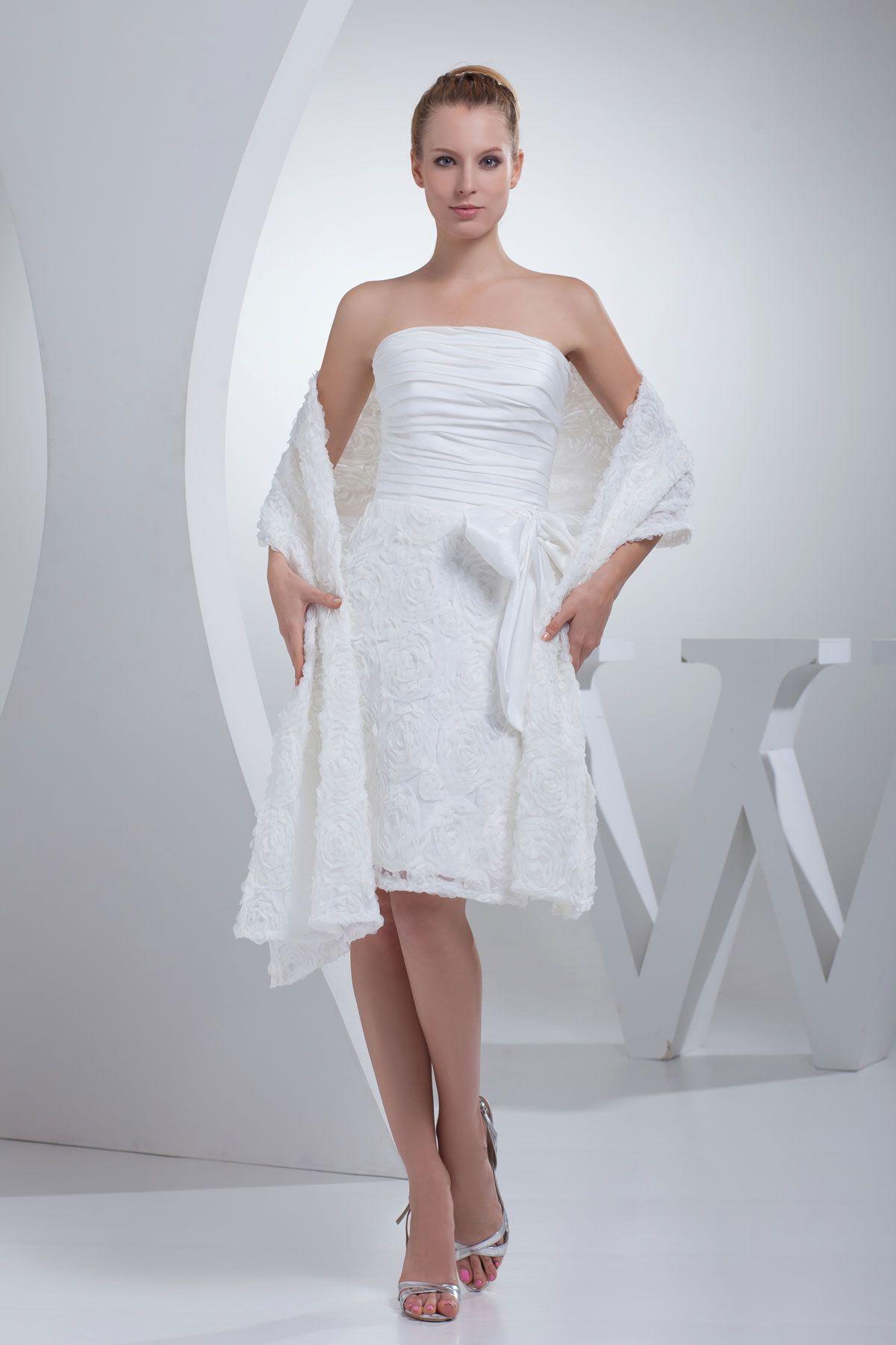 Princess White Taffeta Short Strapless Wedding Dress   Wedding ...