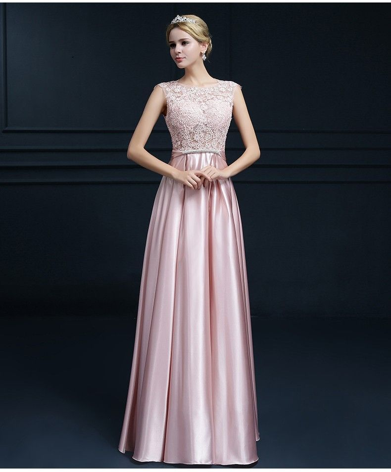 Embroidery Shoulder Straps Satin Long Evening Dress   Satin ...