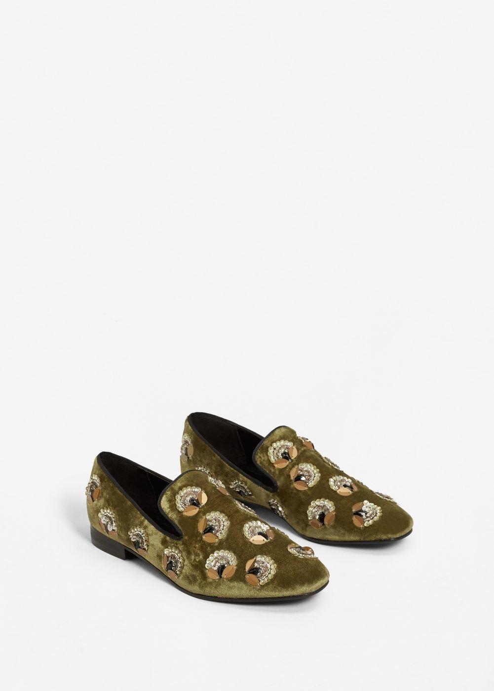 MANGO Appliqu??s velvet loafers iCmDtiXsWM