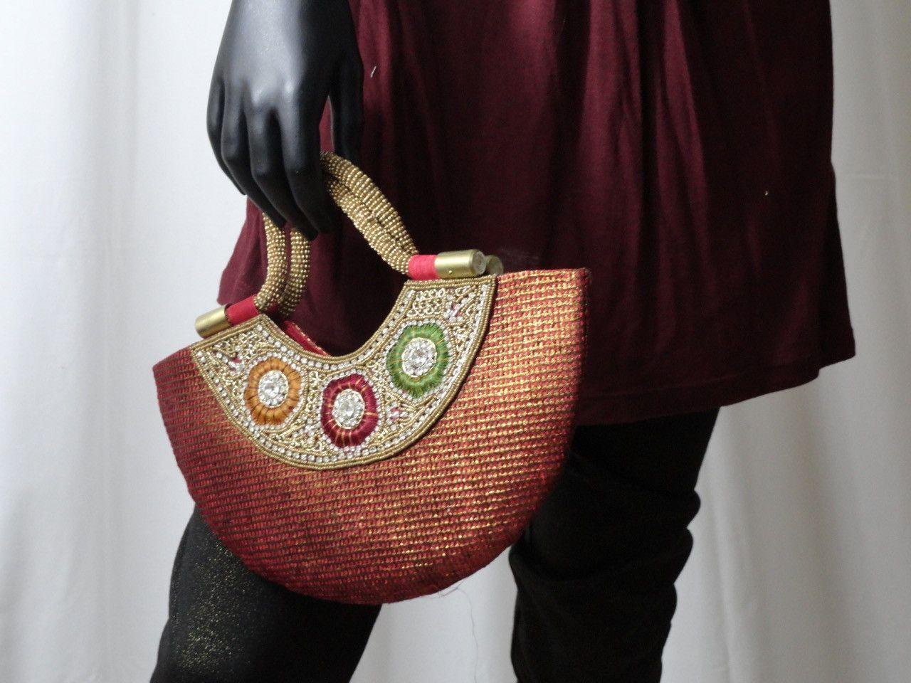 Dressy Purse Handbag Indian Silk Party Wedding Beads Artikrti