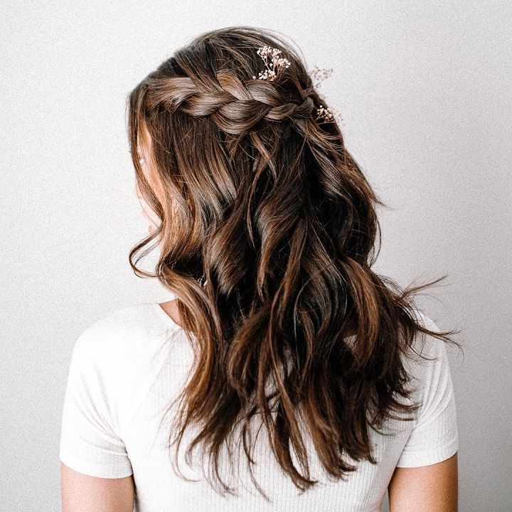 Braids and half down hairstyle #weddinghair #hairstyles #bridalhair