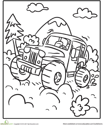 worksheets transportation coloring page off road vehicle