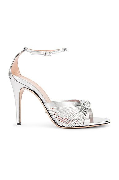 GUCCI GUCCI CRAWFORD METALLIC ANKLE STRAP SANDALS IN SILVER