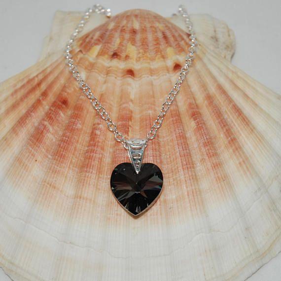 7464cb9b4 Swarovski Silver Night Heart Pendant Necklace On Sterling Silver ...