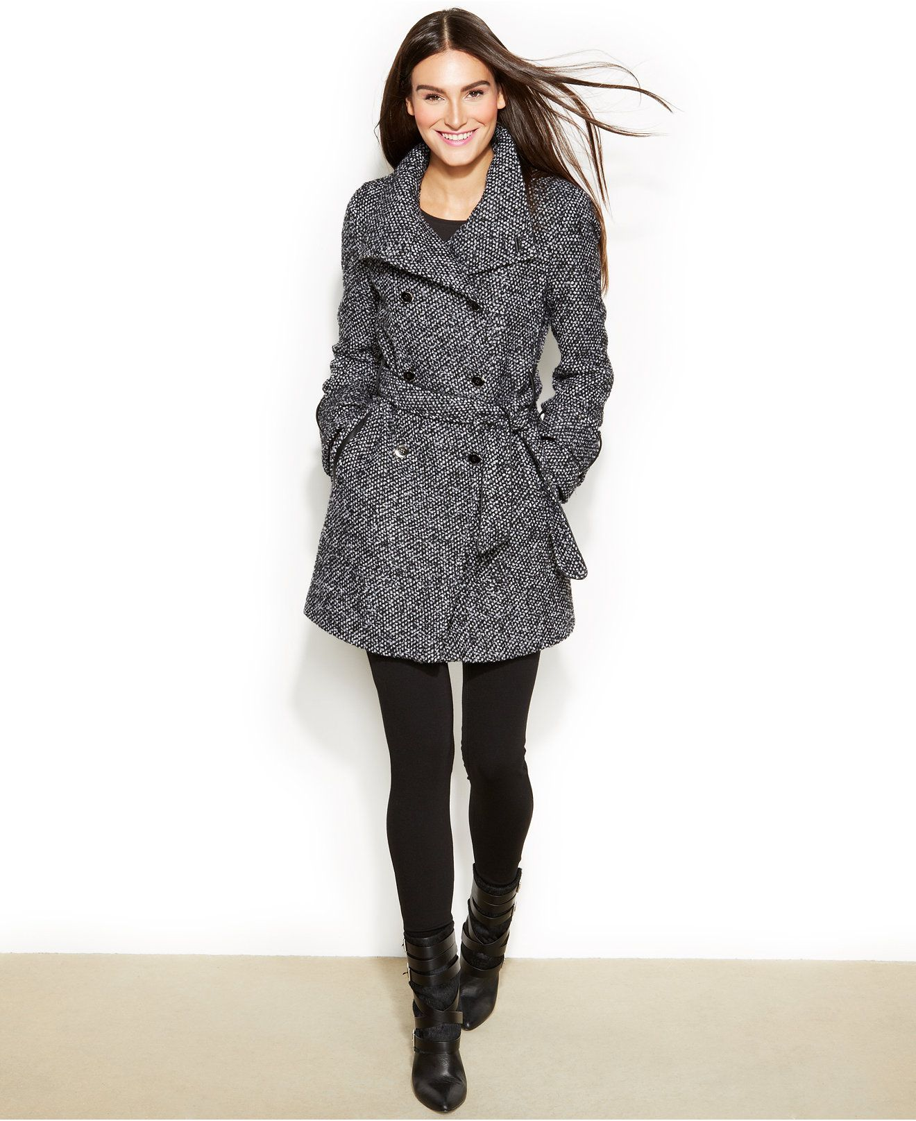Calvin Klein Faux-Leather-Trim Tweed Double-Breasted Belted Coat ...