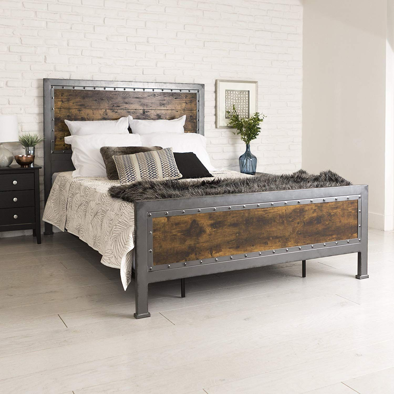 Made Of Refined Metal With A Powder Coated Finish And Engineered Wood In A Rustic Industrial Design Furniture Cheap Bedroom Makeover Rustic Wood Bed