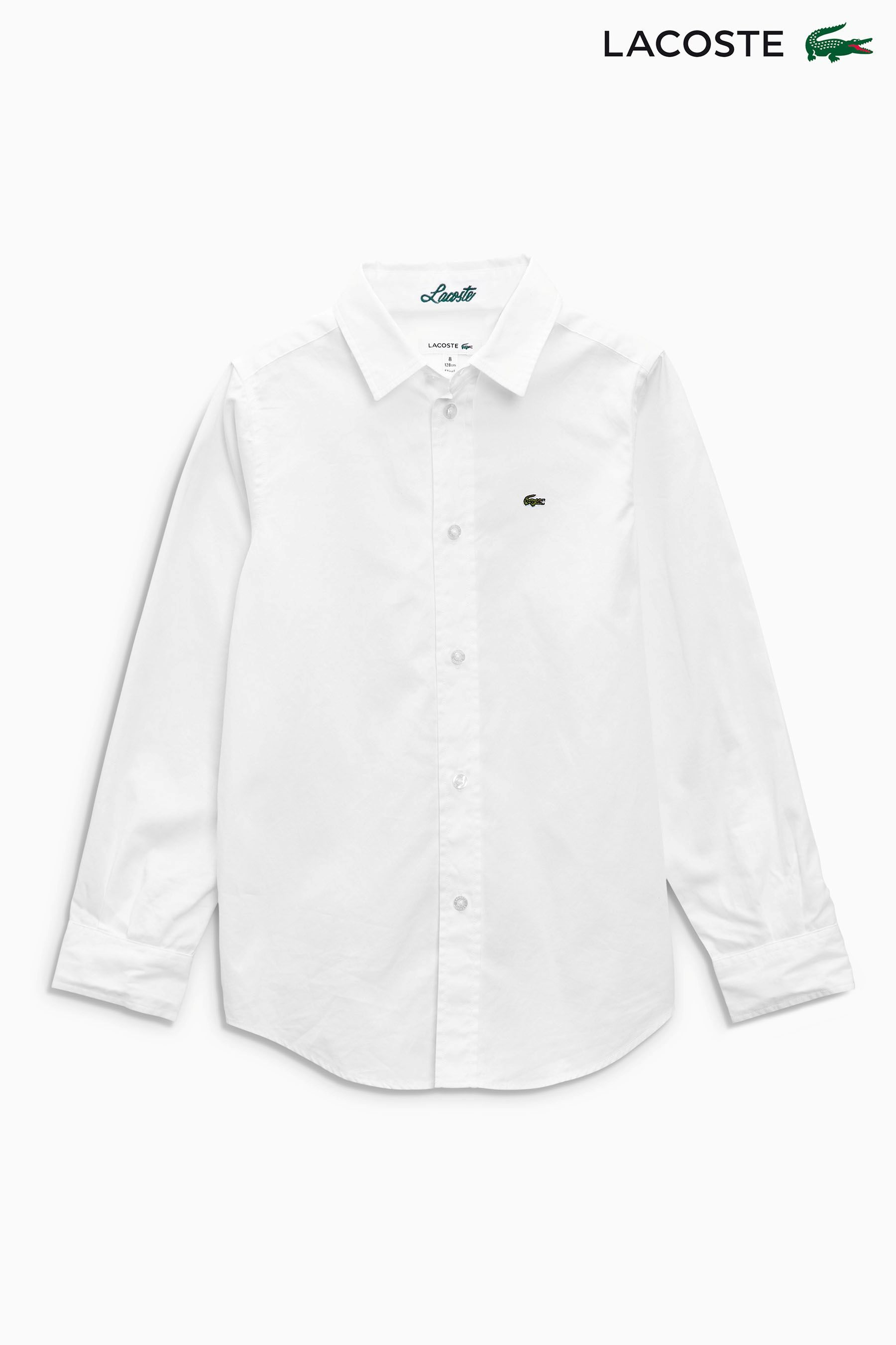 7db66d779 Boys Lacoste Long Sleeved Oxford Shirt - White