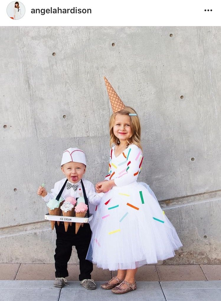 Ice cream cone Halloween costumes for kids, Sister