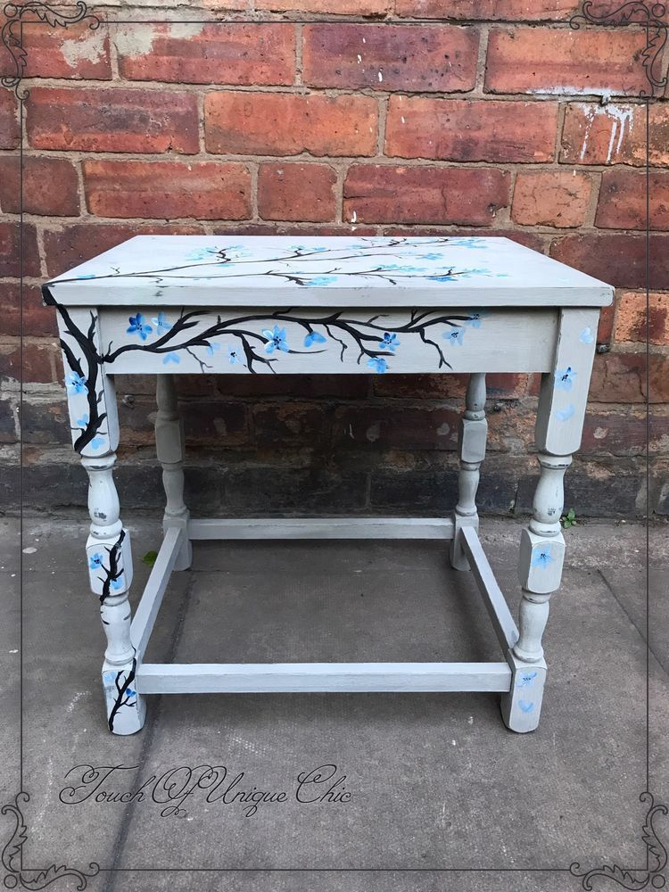 Handpainted coffeeside table shabby chic grey delivery