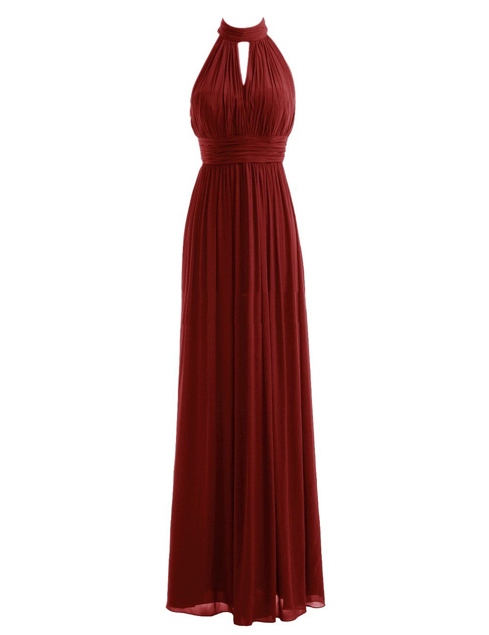 Diyouth High Neck Long Bridesmaid Dresses Slit Prom Evening Gowns ...